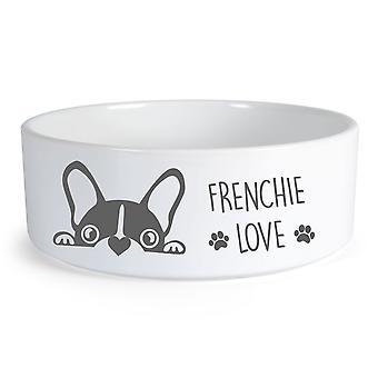 Frenchie Love Small Ceramic Dog Bowl