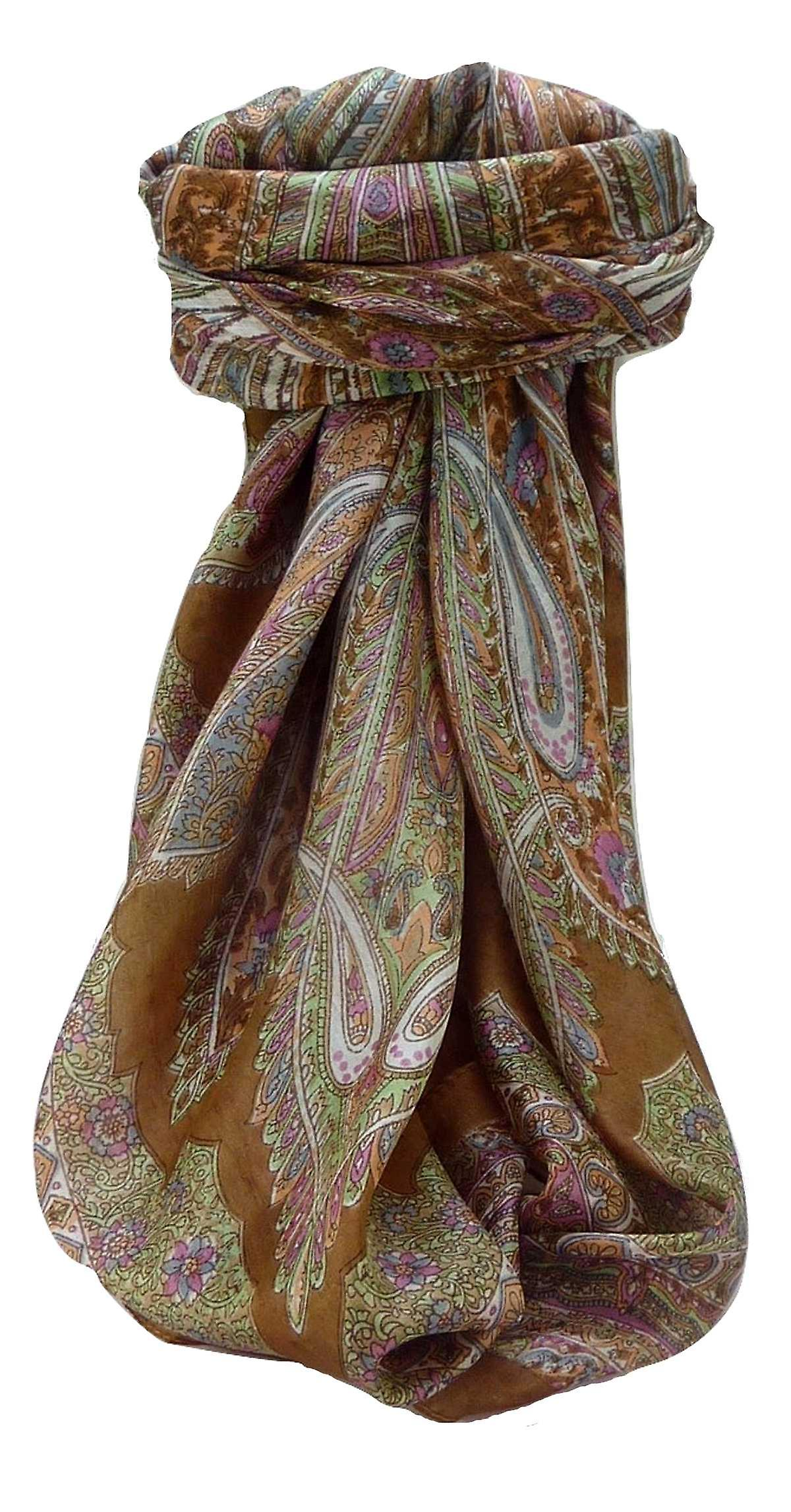 Mulberry Silk Traditional Square Scarf Vahi Chestnut by Pashmina & Silk
