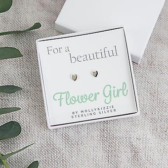 For A Beautiful Flower Girl Heart Sterling Silver Earrings