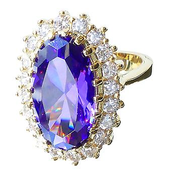 Ah! Jewellery Oval Cut Tanzanite Ring, Gold Electroplated