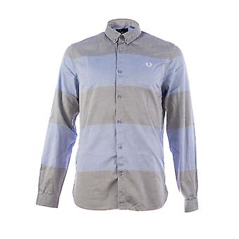 Fred Perry mäns texturerat Stripe långärmad Shirt - M7284-146