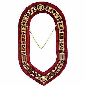 Blue Lodge Working Tools - Masonic Chain Collar - Gold/Silver on Red + Free Case