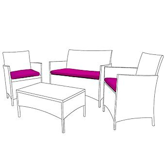 Pink 3pc Seat Cushion Set for Rattan Furniture Sofa Set