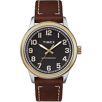 Timex Style forhøyet arv to tone stål sak brun Lær stropp menns se TW2R22900 40mm