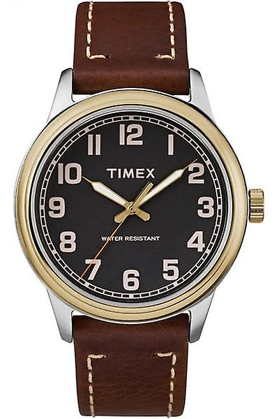 Timex Style Elevated Heritage Two Tone Steel Case Brown Leather Strap Mens Watch TW2R22900 40mm