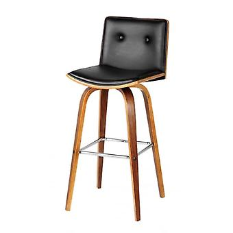 Fusion Living Black Faux Leather And Walnut Wood Button Back Contemporary Bar Stool