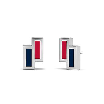 Los Angeles Angels Sterling Silver Asymmetric Enamel Stud Earrings In Red & Blue
