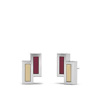 Florida State University Sterling Sølv Asymmetrisk Emalje Stud Øredobber I Rødt og Tan