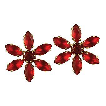 Eternal Sentimental Siam léger fleur de cristal rouge or ton boucles d'oreilles