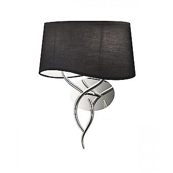 Mantra Ninette Wall Lamp 2 Light E14, Polished Chrome With Black Shade
