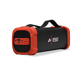 Axess Portable Bluetooth Media Speaker With 3.5mm Aux Jack and FM Radio - Red