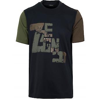 Z Zegna Khaki & Black Graphic Logo T-Shirt