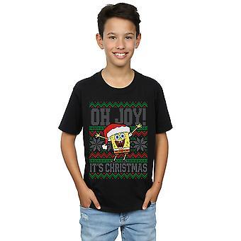 SpongeBob SquarePants Boys Oh Joy! Christmas Fair Isle T-Shirt