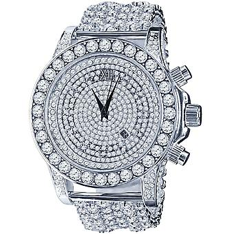 BURNISH High Quality FULL ICED OUT ZIRKONIA Watch - silver
