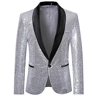 Allthemen Men's Fashion Sequin Casual Blazer Wediing Celebration Suit Jacket