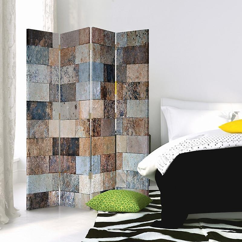 Diviseur de chambre, 4 panneaux, toile, brique de marbre