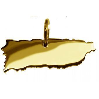 Hänge karta kedja hänge i guldgult-guld i form av PUERTO RICO