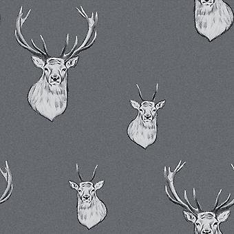 Catherine Lansfield Stag Wallpaper Grey / Silver Muriva 165513