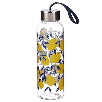 Puckator Lemons Water Bottle with Metallic Lid