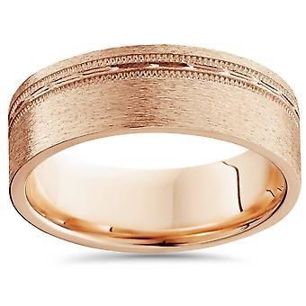 Barbati 6mm plat perie offset de nunta Band 14K Rose Gold