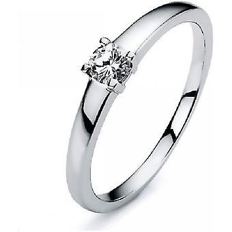 Diamantring ring-14K 585 hvidguld-0,18 CT.