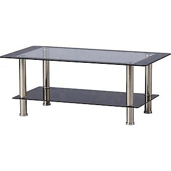 Harlequin Coffee Table Clear/black Glass/black Border/silver