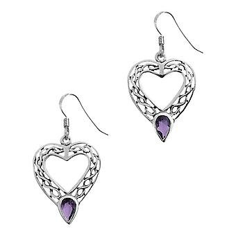 Celtic Eternity Knotwork Love Heart Pair Of Earrings - Amethyst Colour Stone
