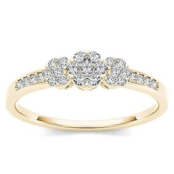 Igi certified 10k solid yellow gold 0.2 ct diamond cluster engagement ring