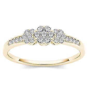 Igi certifierad 10k fast gult guld 0,2 ct diamant kluster förlovningsring
