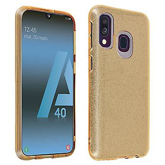 Protective case for Samsung Galaxy A40 Semi-rigid Glitter Soft and Thin - Gold
