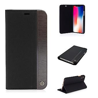 iPhone X Case svart & Gunmetal Edge perforerad Folio Hard Shell