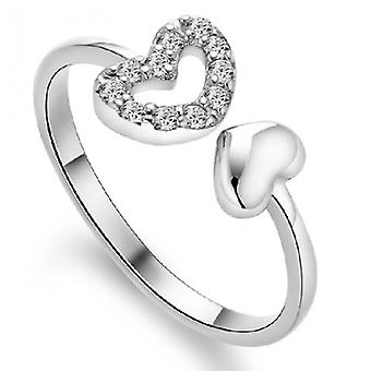 18k white-gold plated twin hearts rings