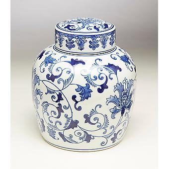AA Importing 59779 9 Inch Blue & White Ginger Jar