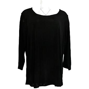 Attitudes by Renee Women's Plus Top Radiant Knit 3/4 Sleeve Black A301328