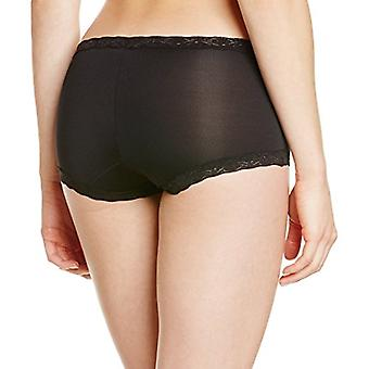 Maidenform Women's Microfiber with Lace Boyshort PantyBlack7/Large