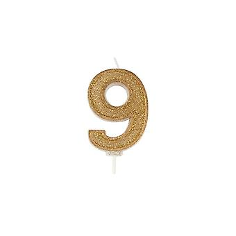 Culpitt Gold Sparkle Numeral Candle - Number 9 - 70mm - Boxed 6