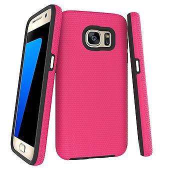 Para la funda Samsung Galaxy S7, armadura rosa slim protector de la cubierta del teléfono