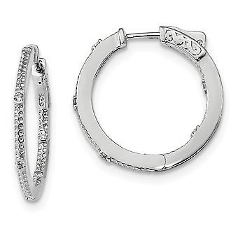 26mm 925 Sterling Silver Rhodium verguld CZ Cubic Zirconia Gesimuleerde Diamond In en Out Round Hoop Oorbellen Sieraden Geschenken