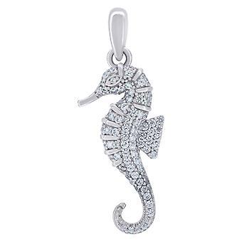 925 שטרלינג כסף Mens נשים CZ מעוקב מדומה יהלום ים סוס הים תליון קסם שרשרת מידות 29.4 x 18.2 mm