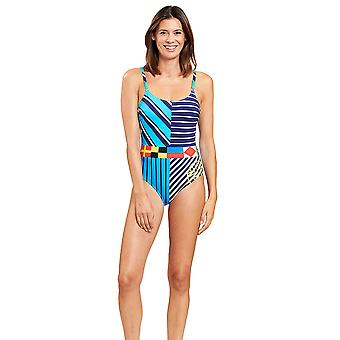 Féraud 3205029-16511 Women's Stripe Blue Striped Non-Padded Underwired Swimsuit
