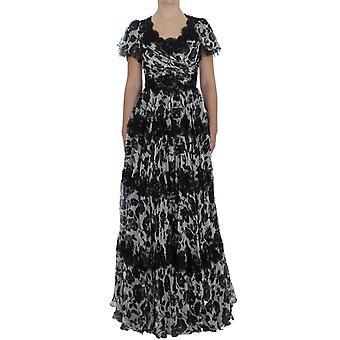 Dolce & Gabbana Czarny Jedwab kwiatowy koronki Ricamo Ball Maxi Sukienka