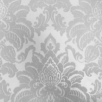 Damask Wallpaper Glisten Glitter Sparkle Luxury Weight Textured Silver Arthouse