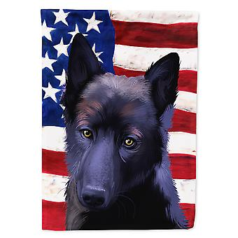 Black Norwegian Elkhound American Flag Flag Canvas House Size