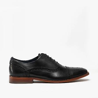 Base London Cast Mens Leather Brogue Shoes Preto