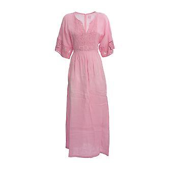 120% N0w47780000115000 Women's Pink Linen Dress