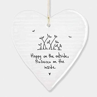 East of India Porcelain ceramic hanging heart 'Prosecco on the inside' Gift