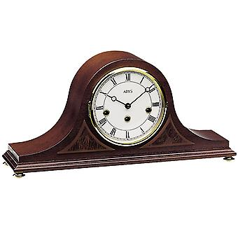 AMS 2190/1 Table clock fireplace clock mechanical wood walnut colors