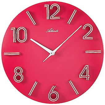 Atlanta 4397/1 wall clock quartz analog pink pink