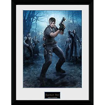 Resident Evil 4 Leon Pistola Enmarcada Placa 30 * 40cm