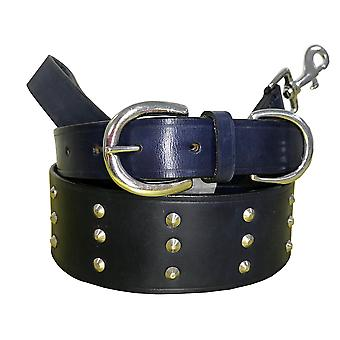 Bradley crompton genuine leather matching pair dog collar and lead set bcdc21navyblue